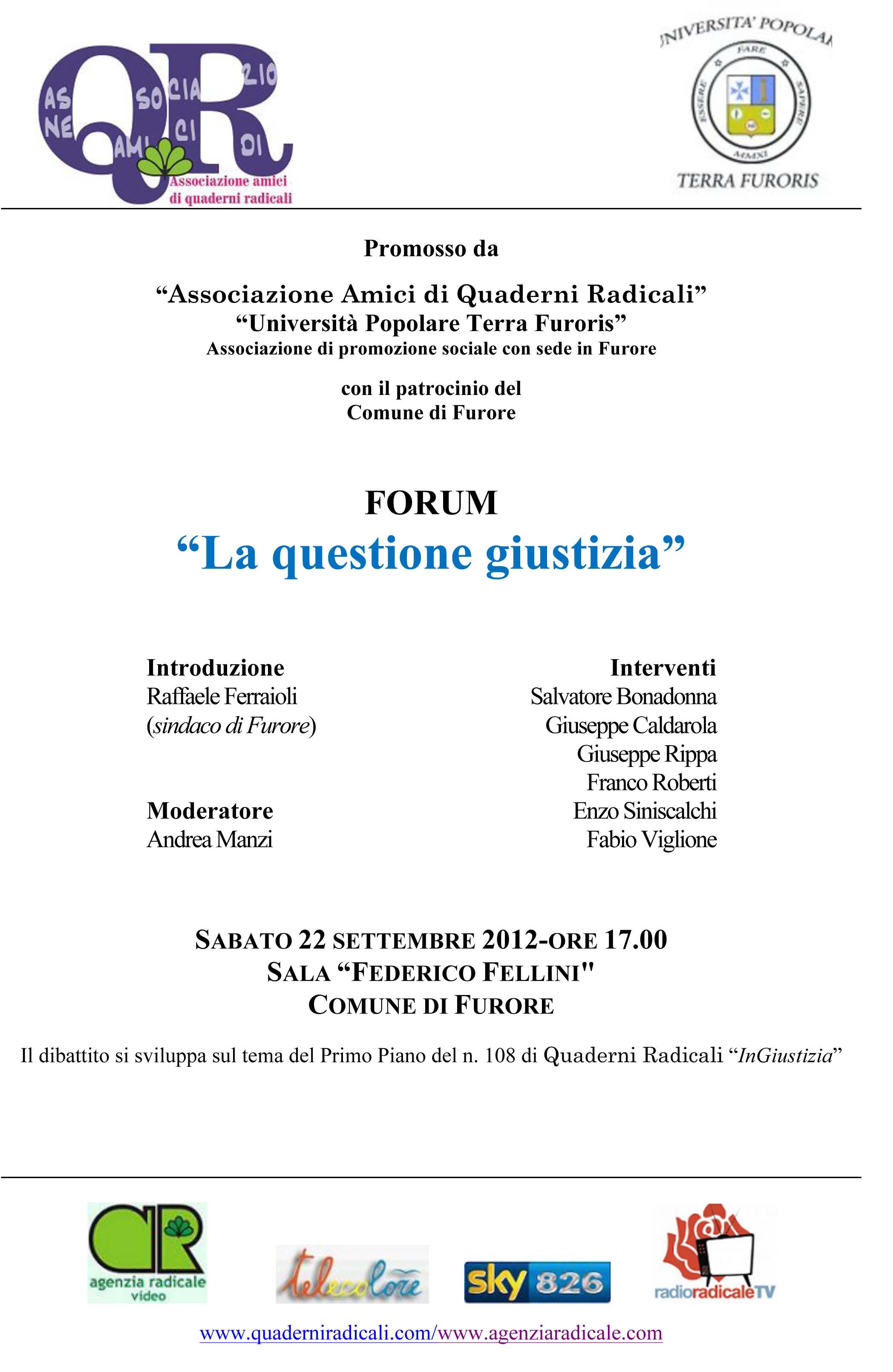 A Furore il 22 settembre un Forum sulla Giustizia