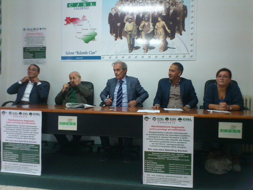 La Cisl campana si mobilita a Salerno: diciamo sì a una vera spending review