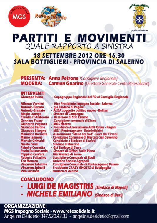 """""""Partiti e Movimenti"""", De Magistris ed Emiliano domani a Salerno"""