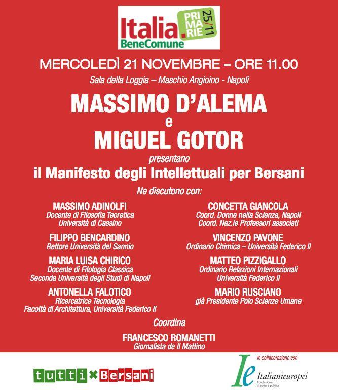 Napoli, il manifesto degli intellettuali per Bersani