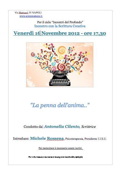 """Napoli, scrittura creativa: il 16 Novembre """"La penna dell'anima"""""""
