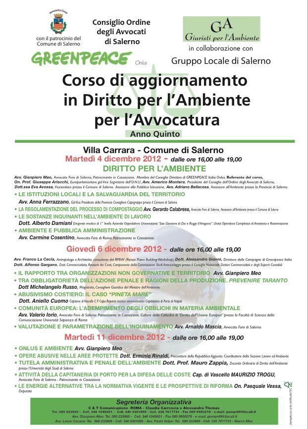 Salerno, quinto corso di aggiornamento in Diritto per l'Ambiente