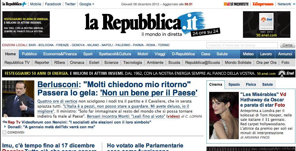 """Repubblica on line """"copia"""" il New York Times, da gennaio si paga"""