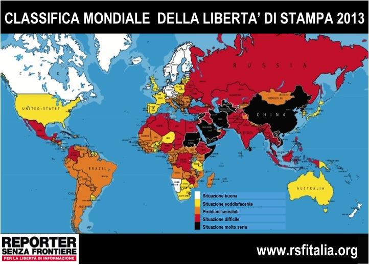 In Italia stampa più libera ma attenti a leggi-bavaglio