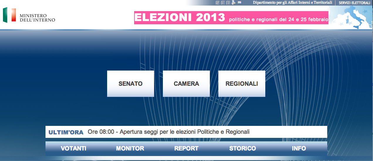 Ministero dell'Interno: elezioni 2013 politiche e regionali del 24-25/02