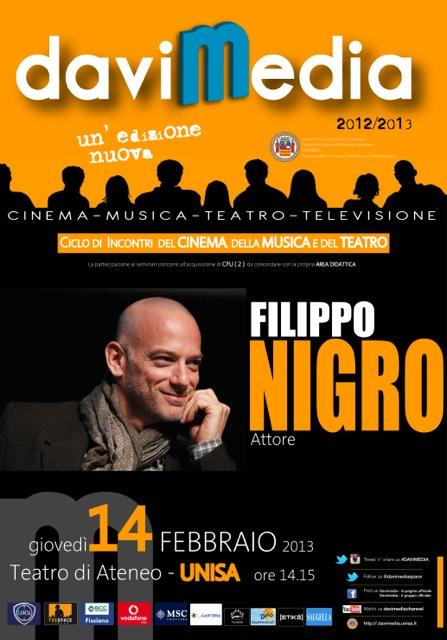 Davimedia, domani a Fisciano l'attore Filippo Nigro