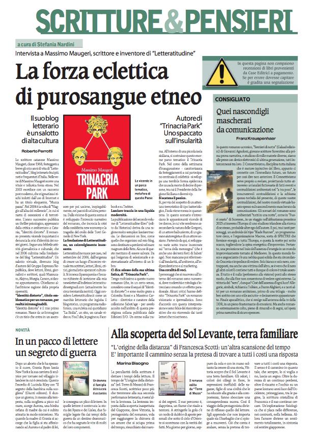 Scritture & Pensieri, il domenica del Corriere Nazionale