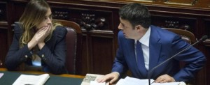 Renzi con il ministro Maria Elena Boschi