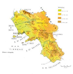 Fasce altimetriche e idrografia principale della Campania